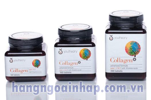 Collagen + C Type 1 2 & 3 290 viên-Collagen Youtheory của Mỹ-collagen không biến tính
