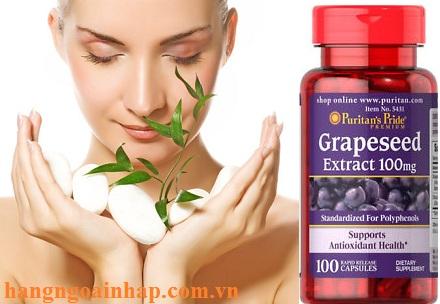 Grapeseed Extract 100mg puritans pride 100 viên của mỹ đẹp da chống lão hóa