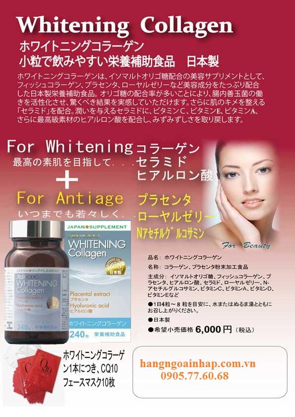 Viên Uống Trị Nám Trắng Da Whitening Collagen Aishodo