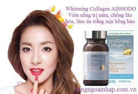 Viên Uống Trị Nám làm Trắng Da Whitening Collagen Aishodo