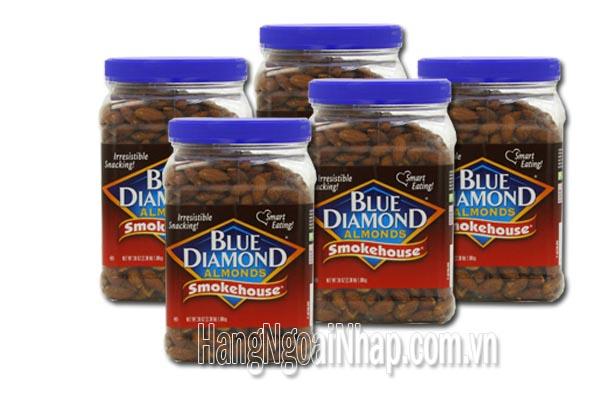 Hạt Hạnh Nhân Hun Khói Blue Diamonds Almonds Smokehouse Hộp 1.08kg