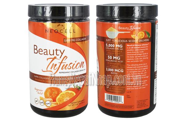 Neocell Collagen Beauty Infusion Hương Cam 5000mg Hộp 450g Của Mỹ