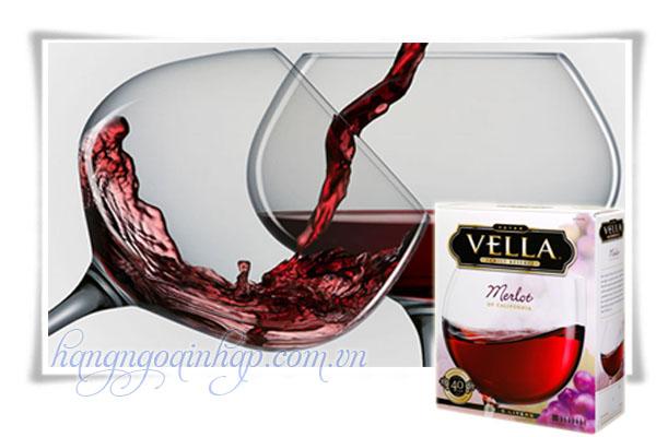 Hộp Rượu Vang Vella Merlot Of California  Của Mỹ Hộp 5 lít