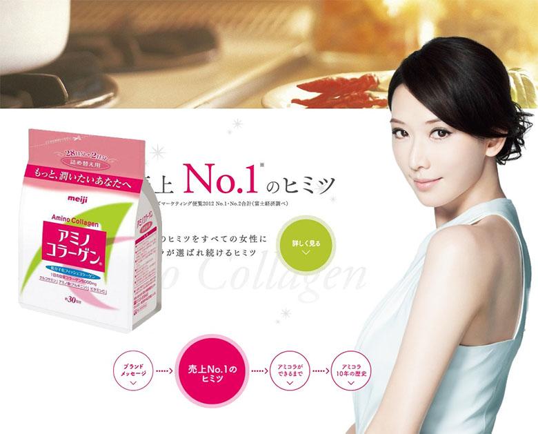 Sữa Bột Dạng Gói 200g Amino Collagen Meiji Của Nhật