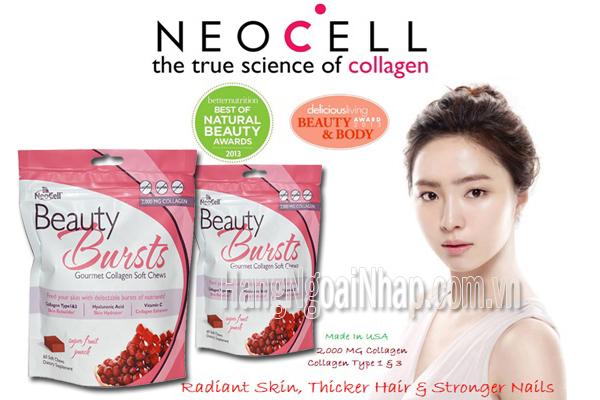 Thạch Neocell Beauty Bursts Gourmet Collagen Soft Chews  Của Mỹ Gói 60 Viên