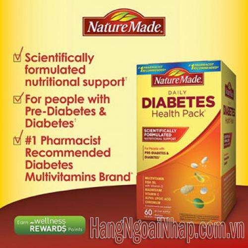 nature made diabetes health pack 60 gói thực phẩm chức năng tiểu đường của Mỹ