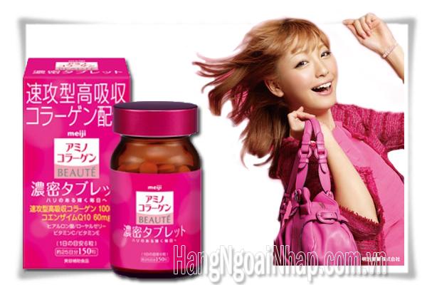 Viên Uống Đẹp Da Meiji Amino Collagen Beaute  Của Nhật Hộp 150 Viên