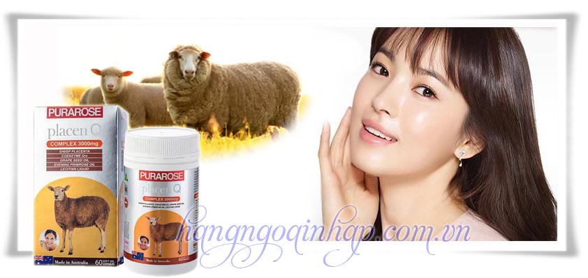 Nhau Thai Cừu Purarose Placen Q 3000mg 60 Viên Của Úc